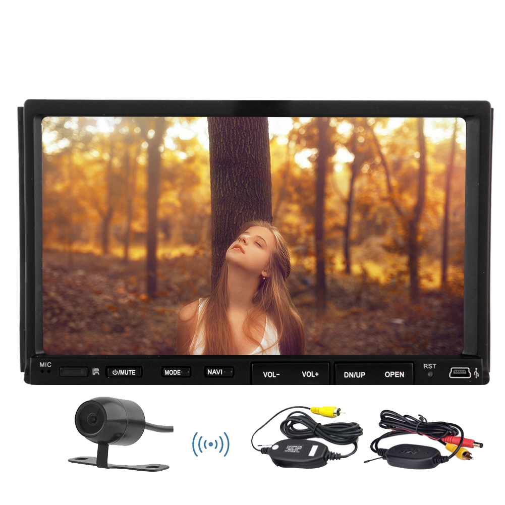 SD Video MP3 BT PC Car Stereo HeadUnit Remote Control Movie FM AM Automotive Double Din Radio Car DVD +Wireless Camera(China (Mainland))