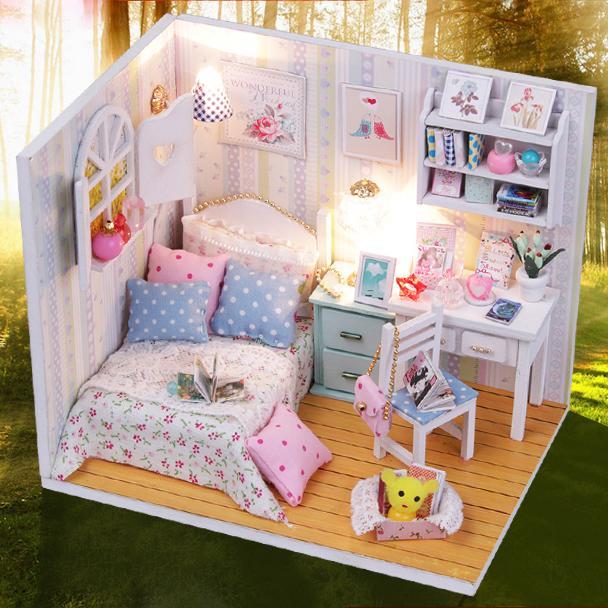 kits diy wood dollhouse bed miniature with ledfurniturecover doll housechina aliexpresscom buy 112 diy miniature doll house