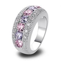 lingmei Wholesale Generous Fashion Lady Pink Topaz Tourmaline 925 Silver Ring Size 6 7 8 9 10 11 12 Romantic Love Style Jewelry