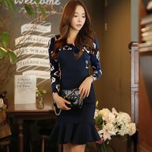 DABUWAWA 2016 Brand Spring Autumn Plus Size Overalls Knee Length High Waist Navy Blue Women Mermaid Skirt Fish Tail Skirt