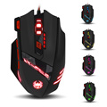 Zelotes T90 USB Wired Computer Mouse Optical Game Mause 9200DPI 8 Buttons Weight Tuning Set LED