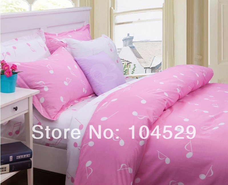 pink white music note bedding sets teenager 4pcs twin full queen twill cotton trend lovely. Black Bedroom Furniture Sets. Home Design Ideas