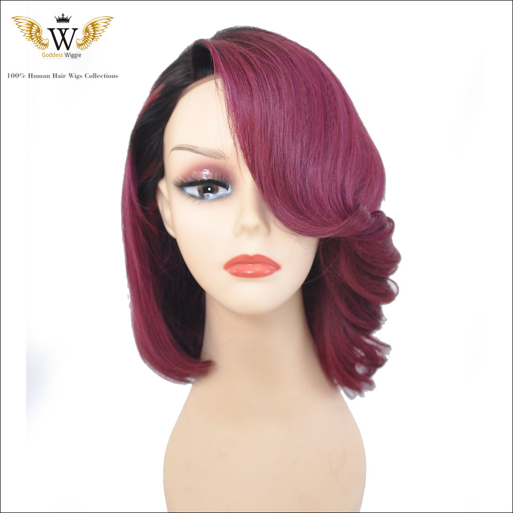 150Density Red Short Human Hair Full Lace Wig With Bangs/Glueless Ombre Burgundy Lace Front Human Hair Wigs For Black Women