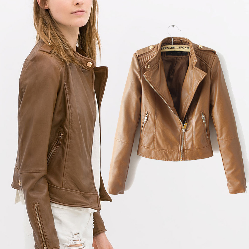 Brown Ladies Leather Jacket