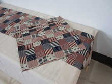 Stars and Stripes printed cotton and linen dining table placemat and table runner set, IKEA style non-slip teapoy cover(China (Mainland))