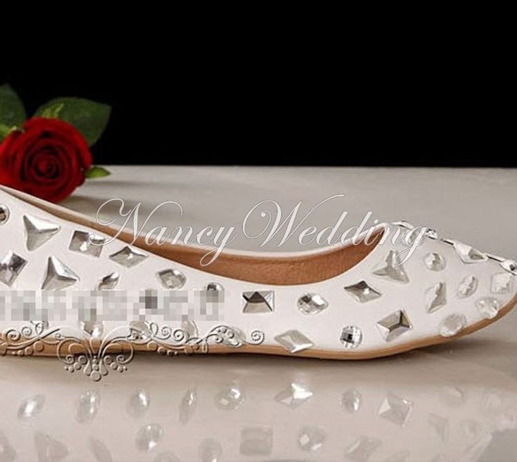 Crystals Beaded lady formal shoes Flat Heels Beaded Bridal Evening Prom Party Dancing Shoes Wedding Dress Shoes Bridesmaid Shoes