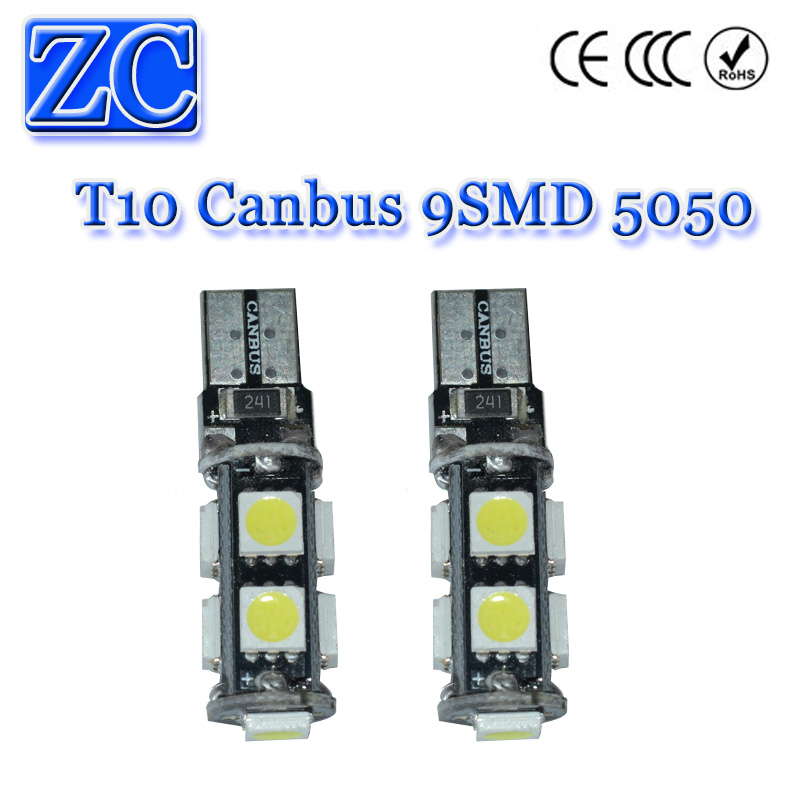 HK post 200X LED T10 Canbus 9 led 9SMD 5050 3 Chips car light w5w 194 wedge bulb lamp white red yellow ice blue green dc 12v(China (Mainland))