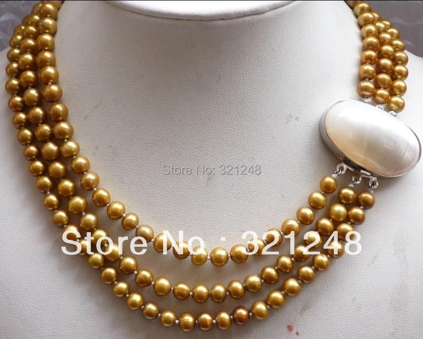 Free shipping diy elegant 3rows 8mm round beads necklace shell clasp simulated-pearl jewelry making 17-19inch MY2330(China (Mainland))