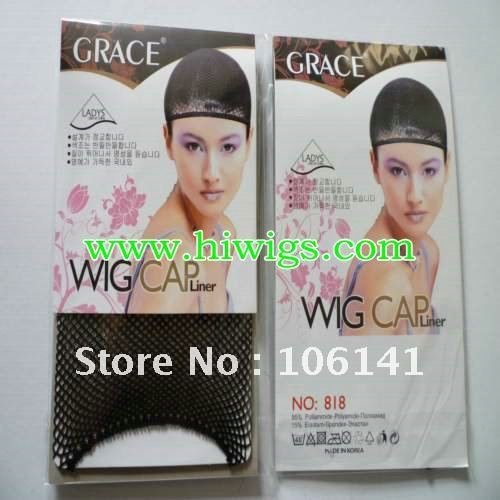 Free shipping - 12pcs NEW Fishnet Wig Cap Stretchable Elastic Hair Net Snood Wig Cap/ Wig Cap / Hair-Net(China (Mainland))