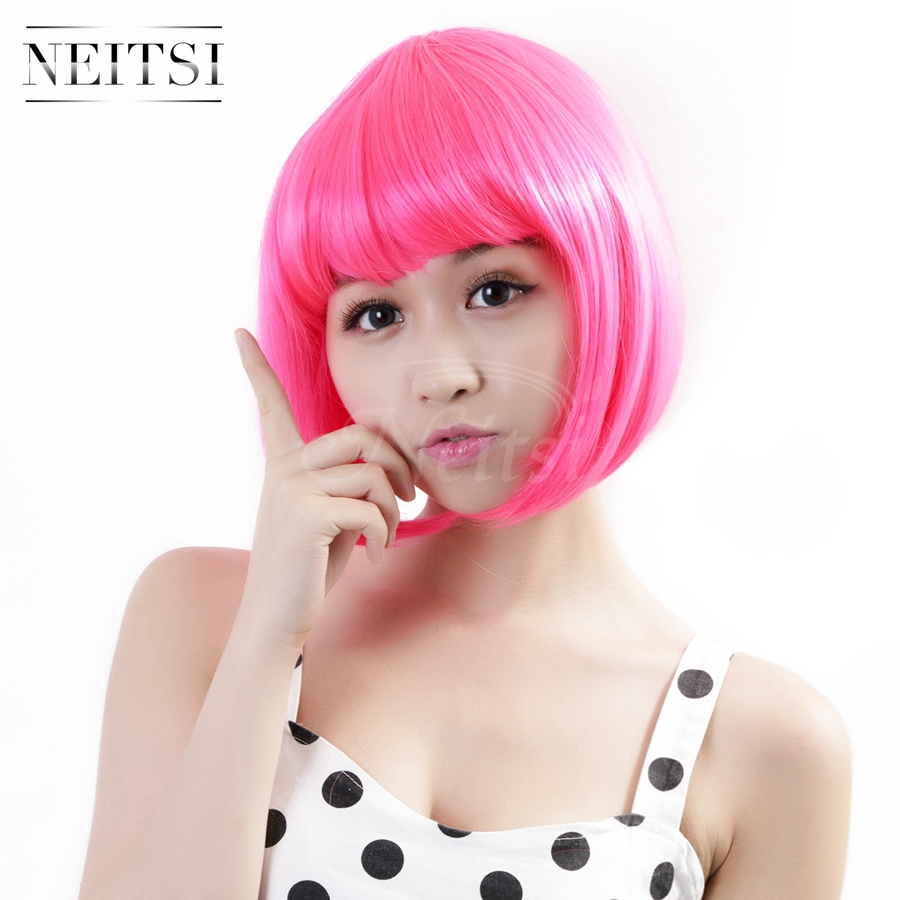 Neitsi New Fashion Synthetic Short Wigs 1pc Full Lace Straight Bob Wigs Pink Color Cheap Beauty Cosplay Women Wigs Fast Shipping(China (Mainland))