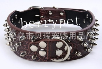 Hot Selling 10pcs per lot Genuine leather Three Rows Spiked Pitbull Large Dog Collar, color assorted