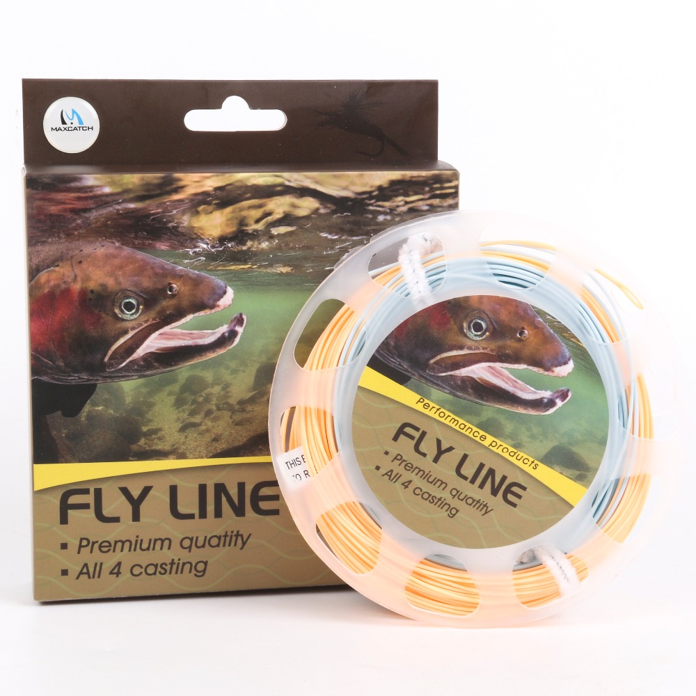 Maxcatch 100FT 5WT Fly Fishing Line Double Color Weight Forward Floating Fly Line With Two Welded Loops Fishing Line(China (Mainland))
