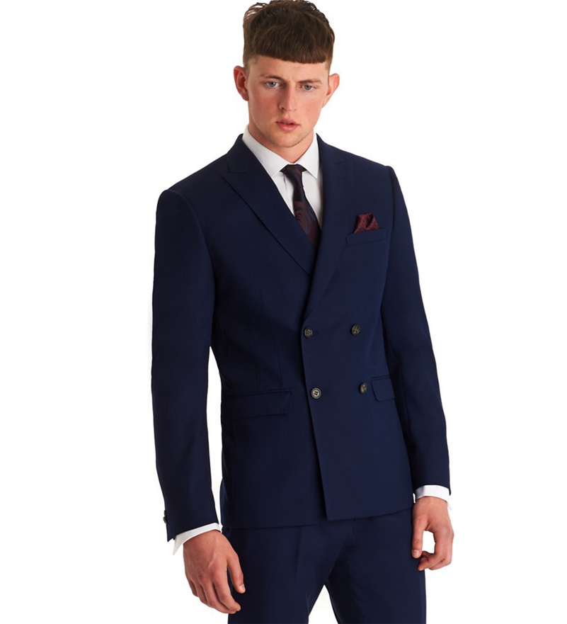 Double-Breasted Mens Suits Navy Blue Groomsmen Peak Lapel Groom Tuxedos Wedding Best Man Suit  (Jacket+Pants+Tie+Girdle) B629Одежда и ак�е��уары<br><br><br>Aliexpress