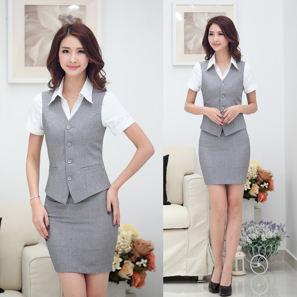 Summer Fashion Women Business Suits with Skirt and Top Sets Gray Vest Waistcoat Slim Ladies Office Uniform Styles Work Wear(China (Mainland))