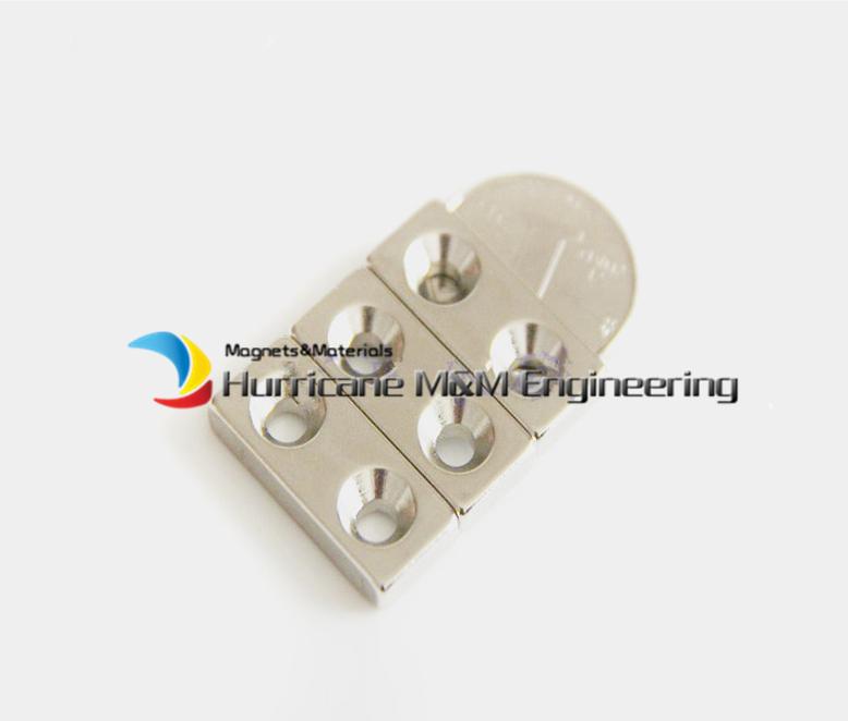 24 pcs/lot NdFeB Fix Magnet 28 x 12 x 4mm with 2 M5 Screw Countersunk Hole Block N42 Neodymium Rare Earth Permanent Magnet<br><br>Aliexpress