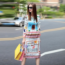 Runway Dress 2015 New Fashion Runway Brand Dress Full Sleeve Fresh Graffiti Print Dress For Women(China (Mainland))