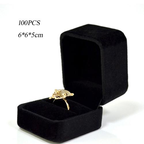 100 x Black Square Classic Velvet Ring Jewelry Display Holder Valentine Gift Package Box Case 6 x 6cm(China (Mainland))