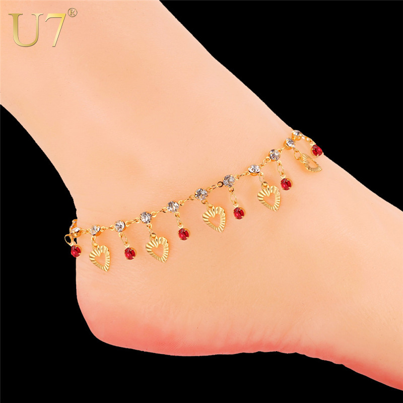 U7 Trendy Heart Anklet Bracelet Foot Jewelry Lover Gift 18K Real Gold Plated 3 Color Crystal Ankle Chain Bracelet For Women A301(China (Mainland))