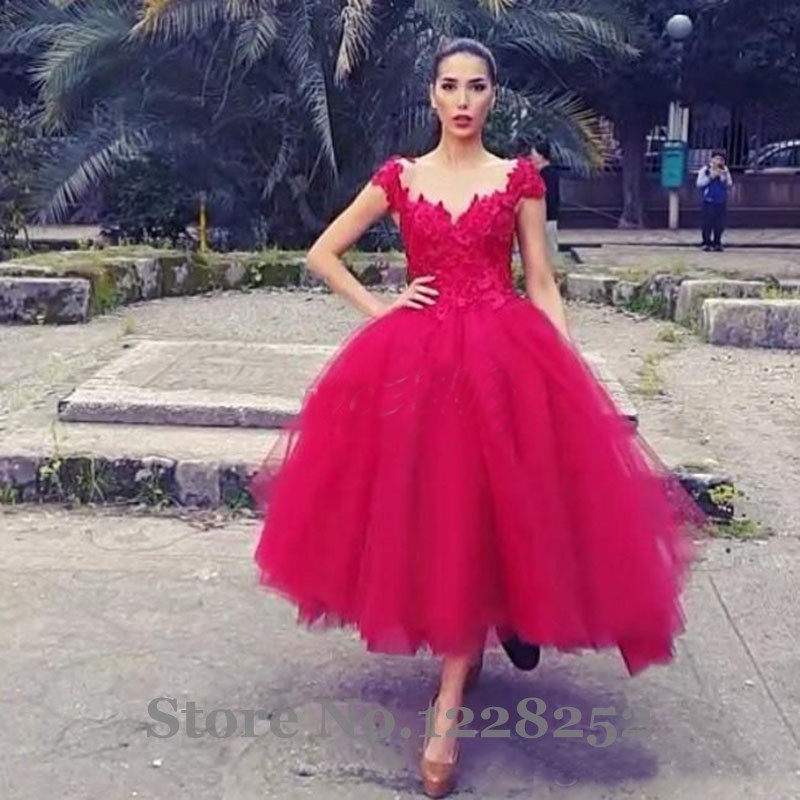 Gown lingerie picture more detailed picture about new for Red tea length wedding dress