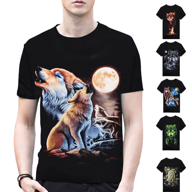 New Popular Famous Brand Much Wolf Animal Casual 3D Print T Shirt Men Shirts Cotton T-shirt Camisetas hombre O-neck T-shirts A2(China (Mainland))