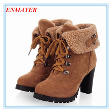 ENMAYER New 2015 hot sale Fashion Women Ankle Boots High Heels Lace up Snow Boots winter Platform Pumps shoe women boots(China (Mainland))