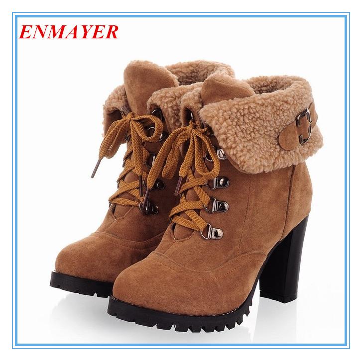 ENMAYER New 2015 hot sale Fashion Women Ankle Boots High Heels Lace up Snow Boots winter Platform Pumps shoe women boots(China (Mainland))