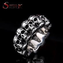 steel soldier stainless steel men punk skull ring vintage domineering skull 316l steel jewelry(China (Mainland))