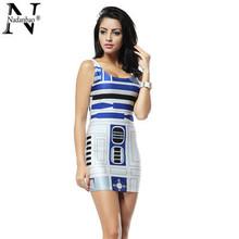 Star Wars Artoo 2015 New Print Dresses bandage dresses Women high quality Summer bandage dress Party Cub TTQ046(China (Mainland))