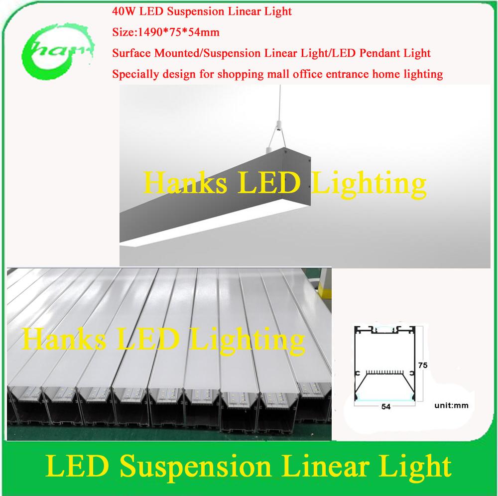 Factory sale ip40 5ft led suspension linear light 40w led pendant light 10pcs - Suspension led castorama ...