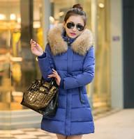 2016 winter women's warm down jacket fur collar thick women jacket fashion cotton parkas for women slim down jacket