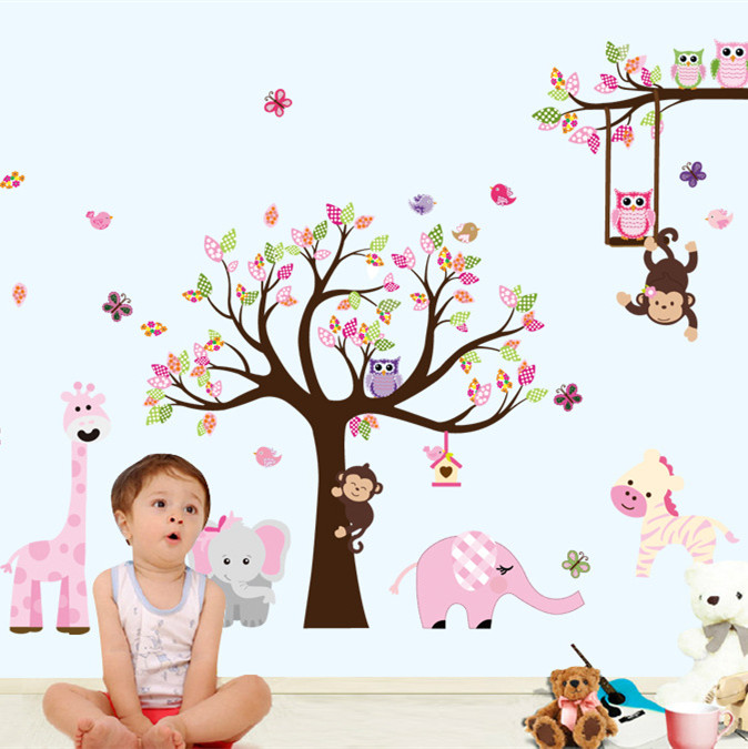 Latest XXL Cartoon Animals Zoo Owl Butterfly Monkey Wall Stickers for Kids Room Home Decor Colorful Tree Decal Stick on Wall(China (Mainland))