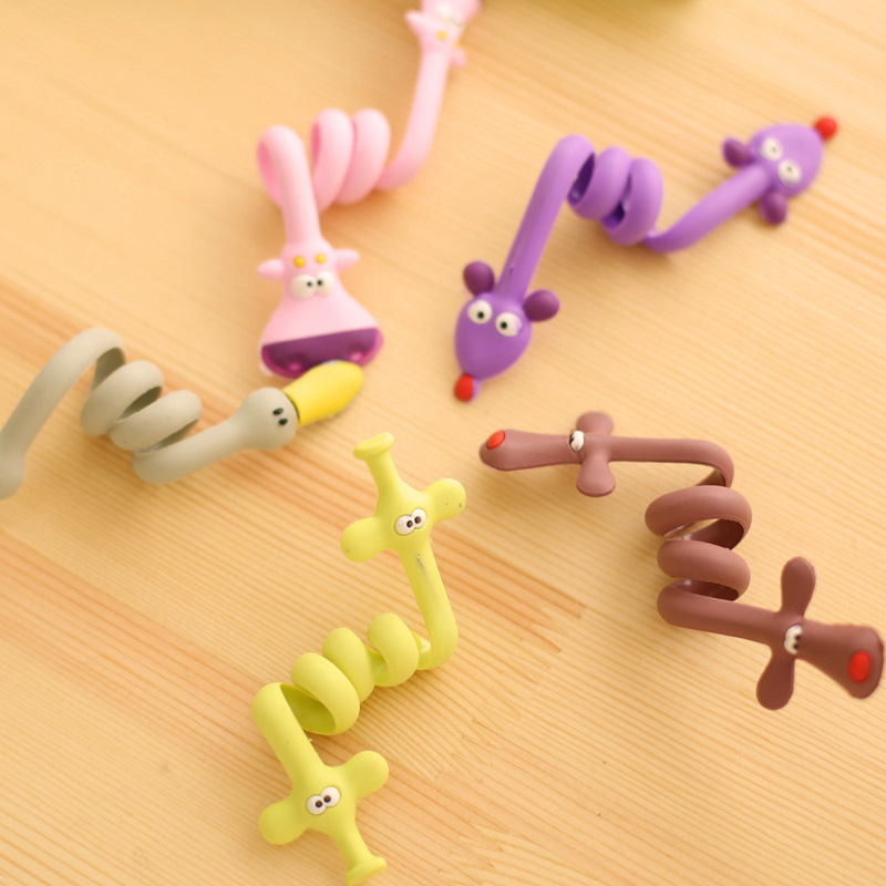 New 10pcs/lot Kawaii Cartoon Earphone Headphone Cable Winder Silicone Cord Holder For Iphone samsung Organizer Wire Holder(China (Mainland))
