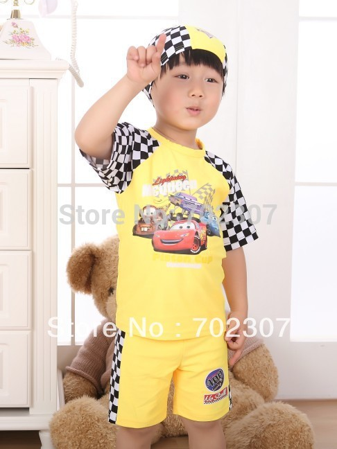 2015 baby New design car  pattern yellow  beach swimsuit   5sets/lot CF39<br><br>Aliexpress