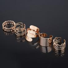 Five-piece fitted combination exaggerated influx of people Band of ring female rings opening minimalist(China (Mainland))