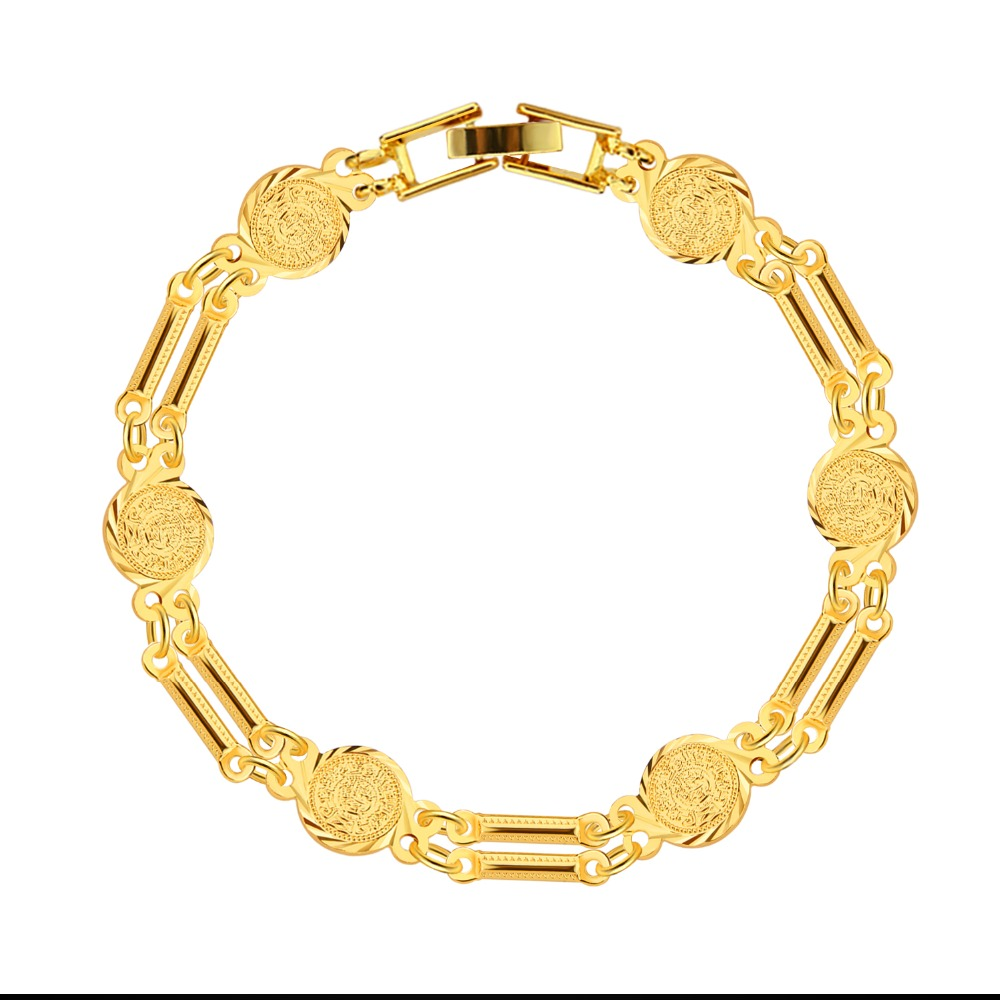 Coin Shape Bracelets Women & Man Jewelry Trendy Quality 18K Gold Plated Link Chain Bracelets B40054(China (Mainland))