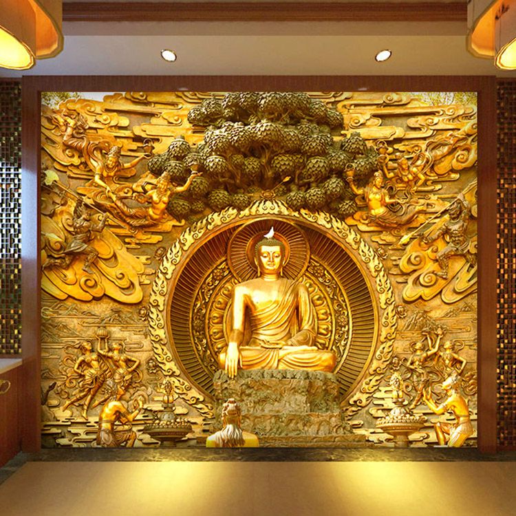 Online buy wholesale wood temple wall from china wood for Chinese mural wallpaper