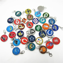 Buy Mix 32 designs Football Logo dangle charms NFL sports lobster clasp charms bracele/pendant hanging charms jewelry accessory for $11.38 in AliExpress store