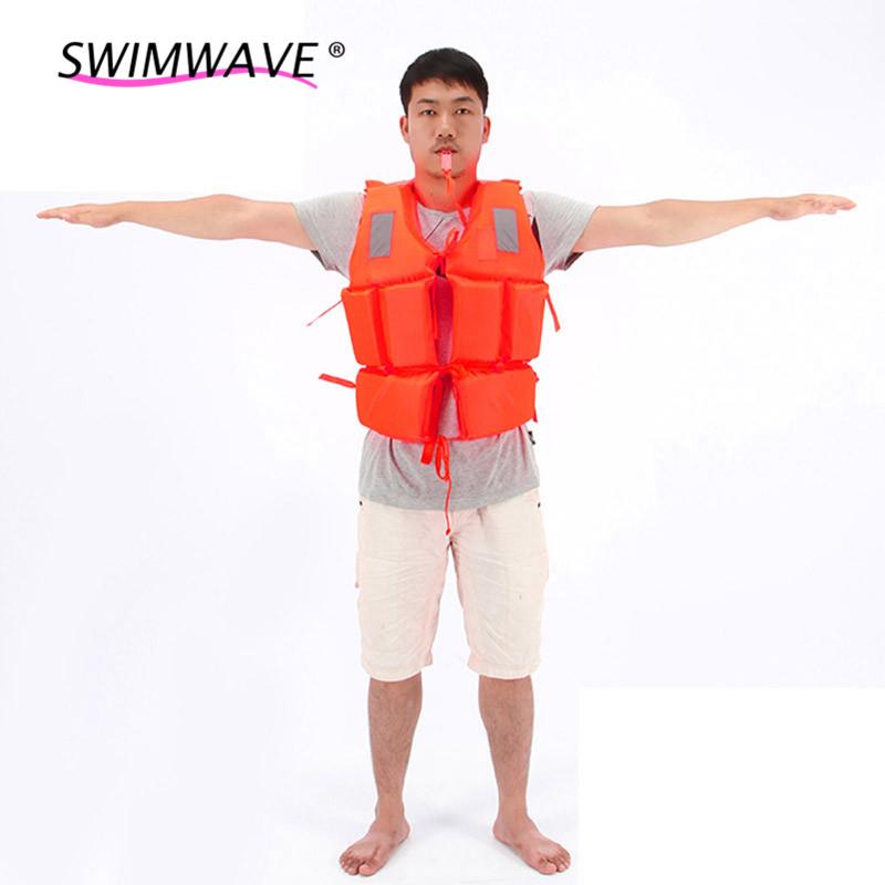 Professional Swimwear Orange Prevention Flood Rafting Drift Suit Adult Foam Life Jacket Vest Flotation Device+1*Survival Whistle(China (Mainland))