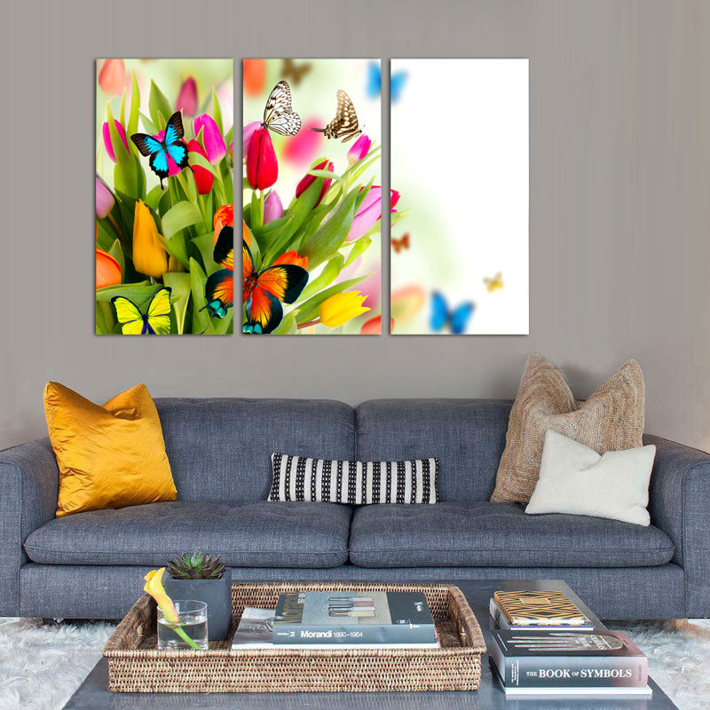 Hot sell wall art butterfly flowers painting on canvas abstract print pictures home decor with - Sell home decor online collection ...