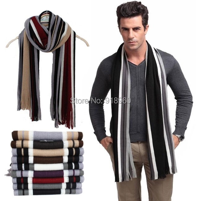 Fashion winter striped cotton scarf mens scarves shawl wrap,casual warm knit cashmere bufandas men business scarf echarpe,WTS(China (Mainland))