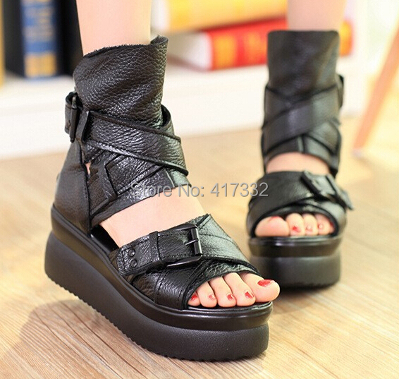 2015 new fashion women summer sandals geunine leather platforms casual women sandal shoes wholesale Free shipping(China (Mainland))
