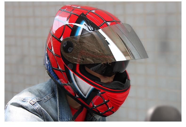 iron man spider man motorcycle helmet men and women summer season double lens anti fog sun protection