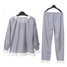 Song Riel spring and autumn fashion men and women long sleeved striped cotton pajamas leisure lovers