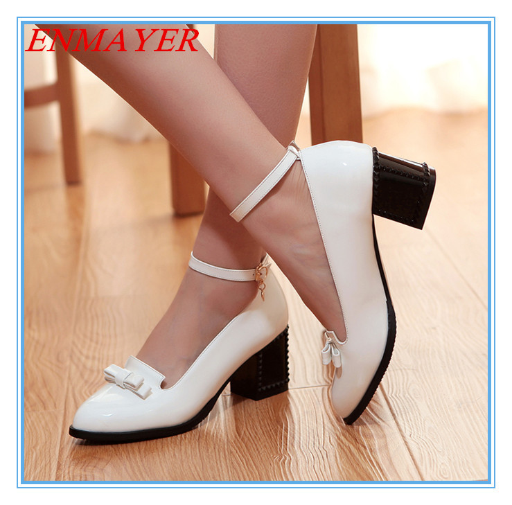 ENMAYER Black WhiteBlack White Pointed Toe women pumps Square heel BIG size 34-43 Platform new 2015 black - Savvy shoes store