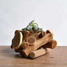 Simple life 1pcs vintage wood flower pot decorative bonsai landscape plant garden pots decorative flower vase home decor(China (Mainland))