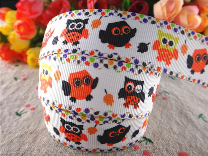 15100310, 1'' (25mm) 10 yards halloween Thanksgiving Day owl printed grosgrain ribbons cartoon ribbon hair accessories tape(China (Mainland))