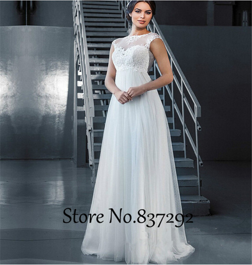 White maternity wedding dresses a line empire lace plus for Plus size maternity wedding dresses