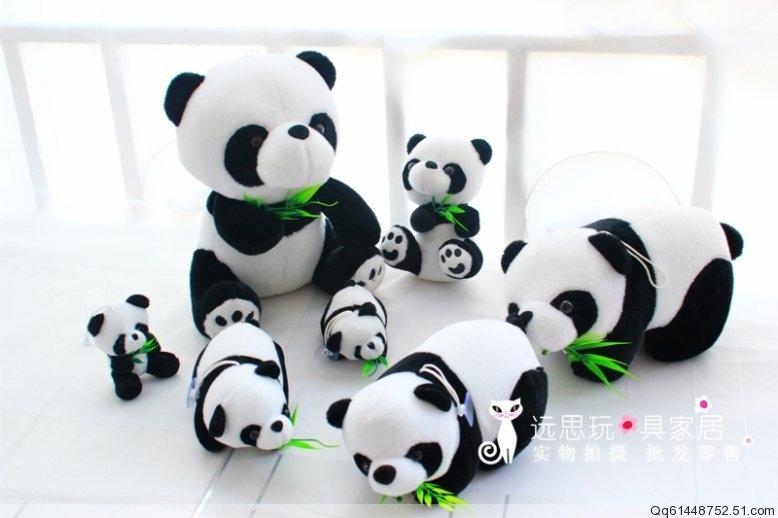 Giant panda plush toy doll bamboo toy birthday gift 8cm,16cm,20cm.(China (Mainland))