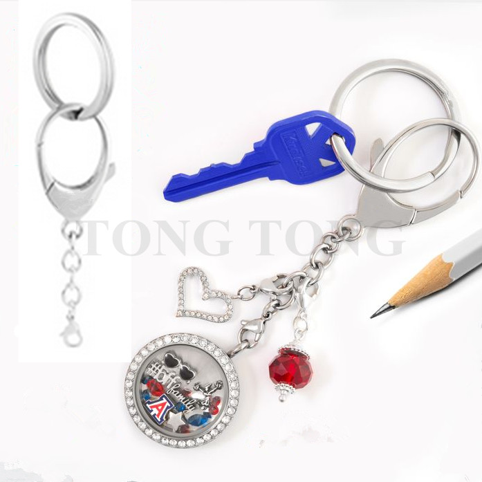 New! 316L stainless steel Bag Clip+Key Chain Floating Locket Key Chain Pendant Key Chain with/without twisted-off locket(China (Mainland))