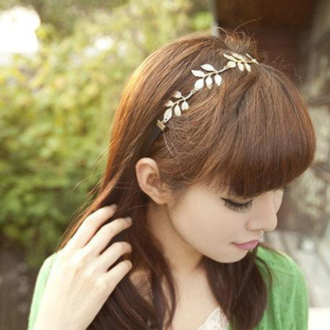 2015 Alloy Fashion trendy Leaves Grecian Garland Forehead Head Hair Band Headband Gold Olive Branch Garland Hair Band Headband(China (Mainland))